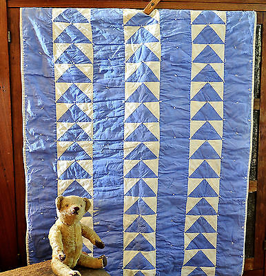 Antique Hand Stitched Blue and White Doll's Quilt - As Is