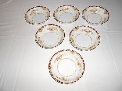 """6 Kongo China STS Dudley 5"""" Dessert/Berry Bowls Japan Floral with Gold Trim"""