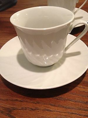 Red Sea Fine China Coffee Cups With Saucers. White With Swirl Design.