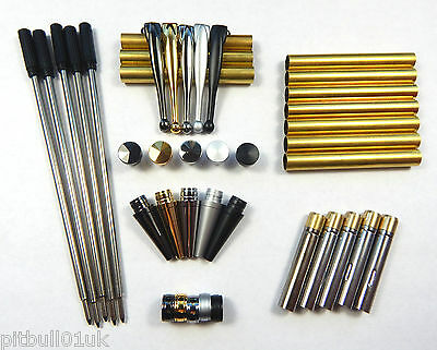 Woodturning Fancy Slimline Mixed Pen Kit Sets x 5 - Set No: 3 ** FREE POSTAGE **