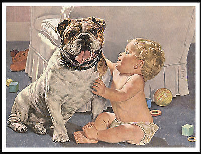 English Bulldog And Cute Baby Lovely Vintage Style Dog Print Poster