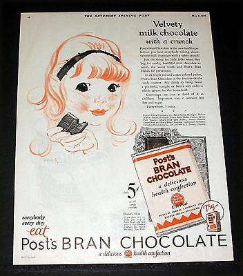 1926 Old Magazine Print Ad, Post's Bran Chocolate, Delicious Health Confection!