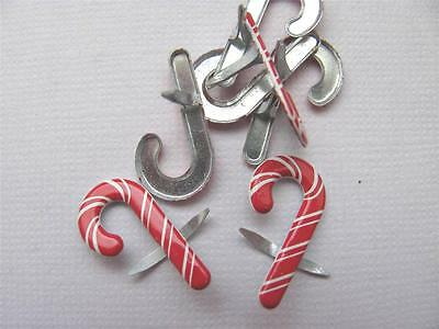 BRADS CANDY CANES pk of 8 christmas cane xmas card scrapbooking craft split pin
