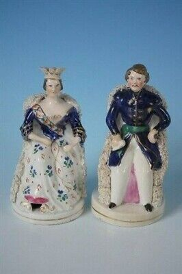 Pair Staffordshire seated Queen Victoria&Prince Albert