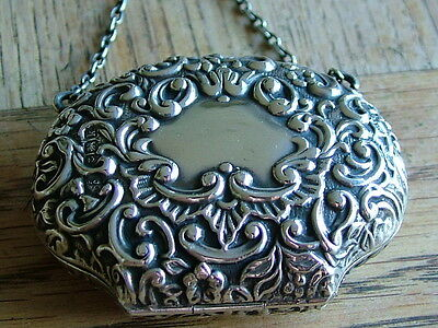 ANTIQUE SOLID SILVER EDWARDIAN HM1909 CHATELAINE PURSE FOB ORNATE NO RESERVE