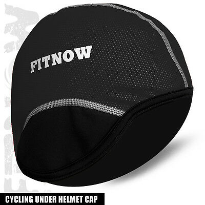 Cycling Skul Caps MTB Bicycle Thermal Windstopper Under Helmet Cap Hat - BLACK