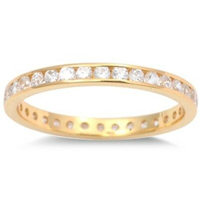 Yellow Gold Plated Cz Eternity Band .925 Sterling Silver Ring Sizes 1-12