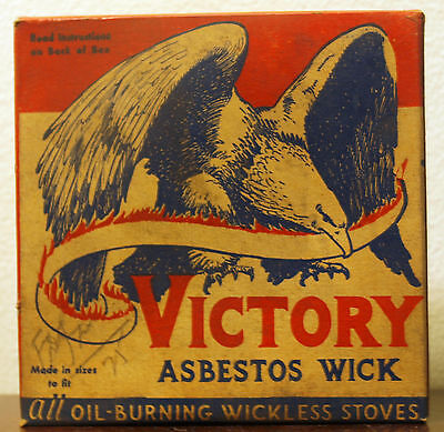 Victory Atlas Asbestos Co Wick Oil Burning wickless stove wick VTG NOS WWII