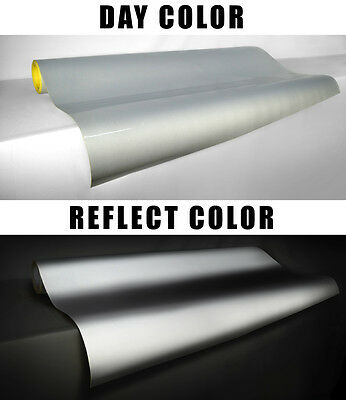 Reflective glow Vvivid silver white vinyl printable film 5ft x 4ft roll decal 3l