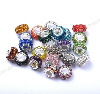 Big Hole Czech Crystal Rhinestone Pave Rondelle Spacer Beads Fit European 12MM
