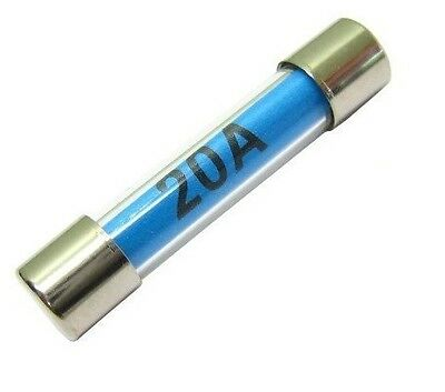 "20A AUTOMOTIVE 6.3mm x 30mm (1¼"" x ¼"") Glass Cartridge Fuses - Pack of 10"
