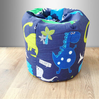 Children's Bean Bag Dinosaurs Blue Boys Kids Bedroom Furniture Dino Seat Beanbag