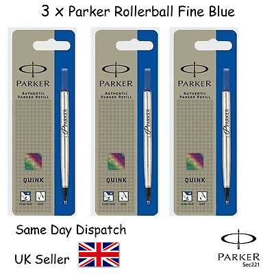 Geniune Parker Quink Refill for Rollerball Fine Blue x 3   SAME DAY UK DISPACH