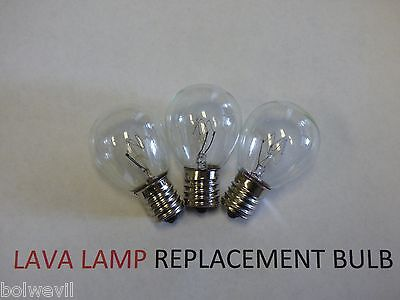3 X 25w LAVA LAMP LIGHT BULB S type E17 BASE 25 watt S11, 25s11, 25s11N, S11N25