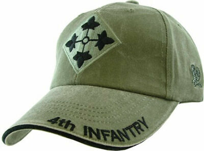 U.s Army 4Th Infantry Division Hat Military Baseball Cap Od Green Stone Washed