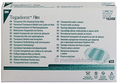 3M - Tegaderm Transparent Film Dressing Frame Style Ref# 1624W - Box of 100