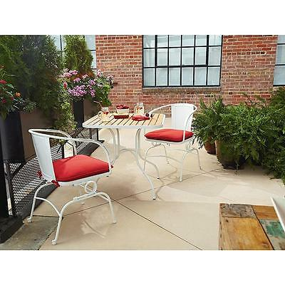 Garden 3-piece Set White Patio Deck Furniture Dining Chairs Table