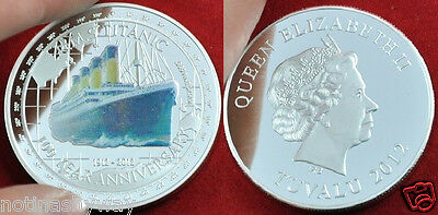 SILVER PLATED Coloured TITANIC Coin 100th Anniversary of Sinking from Tuvalu