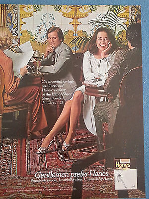 1978 Vintage Hanes Hosiery Sheer Sensation Gentleman Prefer Smooth Original Ad