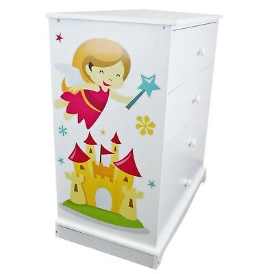 Kids Childrens Chest of Drawers White Wardrobe Bedroom Furniture Wooden Princess