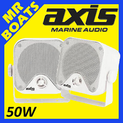 "2x AXIS 4"" MARINE ✱ BOX SPEAKERS ✱ 50W Surface Mount 4 Boats Outdoors MA442 NEW"