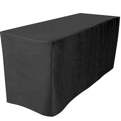 """4' ft. Fitted Polyester Table Cover Wedding Banquet Event Tablecloth 24"""" Black"""