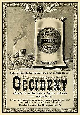 1913 Ad Occident Flour Sack Russell Miller Milling Factory Minneapolis CSM1