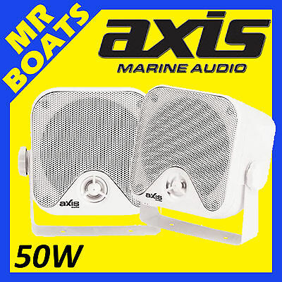 "2x AXIS 4"" MARINE ✱ BOX SPEAKERS ✱ 50W Surface Mount 4 Boats MA442 FREE POSTAGE"