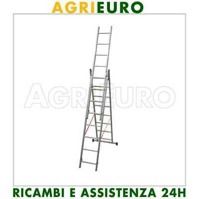 Scala in alluminio telescopica 510cm Facal Stilo 3 rampe a 8 gradini allungabile
