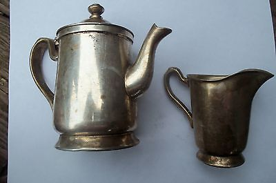 Vintage WEARBRITE Nickle Silver Plate~Sm Coffee Teapot~Creamer~Grand Silver Co.