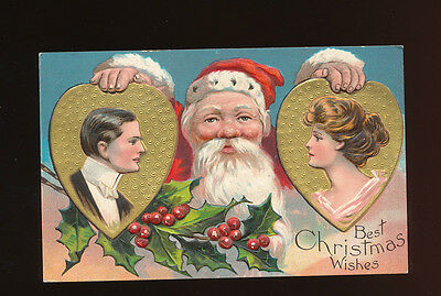 Santa Claus with Man & Woman in Golden Hearts Antique Christmas Postcard-ggg593