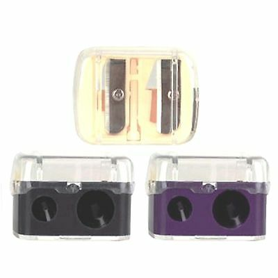 Deluxe Duo Double Cosmetic Pencil Sharpener + Lid - Eye Lip Brow - Small & Large