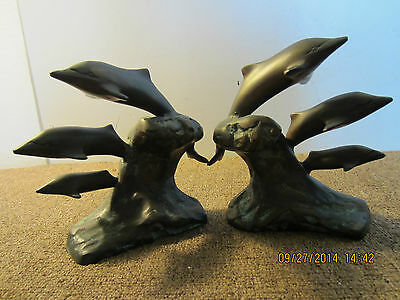 Pair Of, Heavy, Solid Brass, Dolphin Bookends