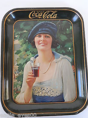 RARE ORIGINAL 1921 ANTIQUE LITHO COCA COLA NAVY GIRL SERVING TRAY EX 8.5 COND