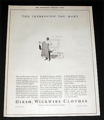 1921 Old Magazine Print Ad, Hirsh Wickwire Clothes For The Impression You Make!
