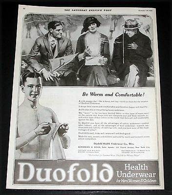 1921 Old Magazine Print Ad, Duofold Health Underwear, Warm And Comfortable, Art!