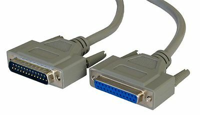 5m Parallel Printer Cable Extension Lead Male 2 Female DB25 25 Pin Serial RS232