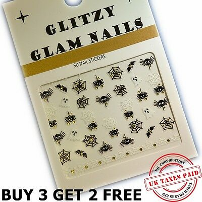 3D GOLD HALLOWEEN IDDY INCY WINCY SPIDERS NAIL ART STICKERS MANACURE H3