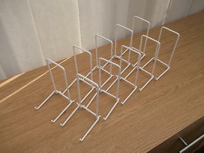 """10 WHITE NYLON PLATE DISPLAY STAND UP TO 8"""" (20CM) ITEM (5""""/12cm tall approx)"""