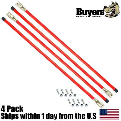 "4PK 27"" Snow Plow Guide Stick Markers w Bolts Fits Western 62265 Boss BAX0005"