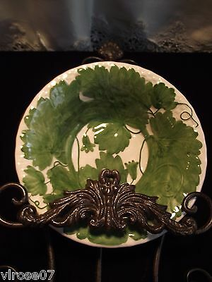 "Vintage Green ""Trellis"" ZRIKE Portugal soup and shallow bowl lunch plate 12avail"