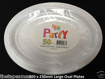 White Disposable Plastic Large Oval Plates : 300mm x 230mm: 50 Pcs Party/Wedding