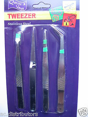 NEW 4Pk Tweezer Stainless Steel Tool Set Gr8 for Hobby,Jewellery, Arts & Crafts