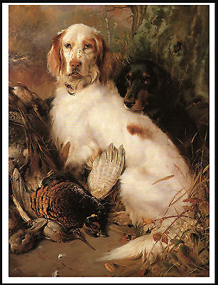 English And Gordon Setter Dogs And Game Great Dog Print Poster