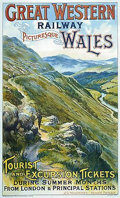 Vintage Rail travel railway poster  A4 RE PRINT Wales