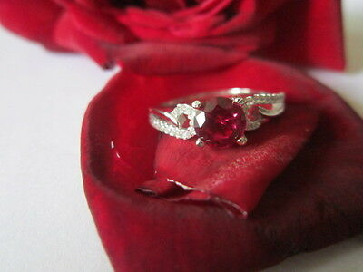 Sterling Silver Ring With CZ and Semi precious Ruby solid silver 925 size 7