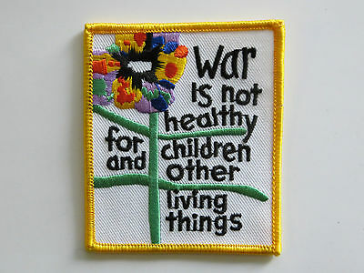 "Vintage 1960's/70's ""War is Not Healthy..."" Patch! Protest/Peace/Anti-War Mint!"