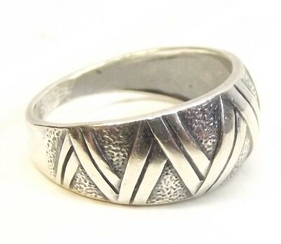 Vtg Russian Sterling Silver Ring Criss Cross Soviet Made in USSR Sz 5.75 Sickle