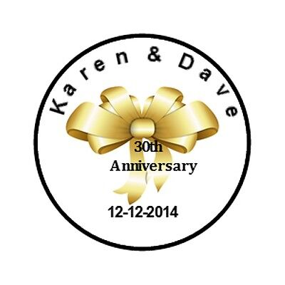 108 Personalized Gold Ribbon Anniversary Hershey Kisses labels