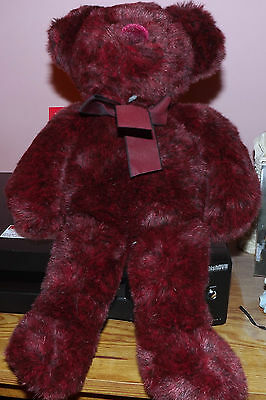 "RUSS BERRIE  ROXANNE 17"" BURGANDY RED TEDDY BEAR"